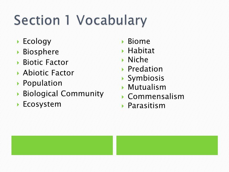  Ecology  Biosphere  Biotic Factor  Abiotic Factor  Population  Biological Community  Ecosystem  Biome  Habitat  Niche  Predation  Symbios