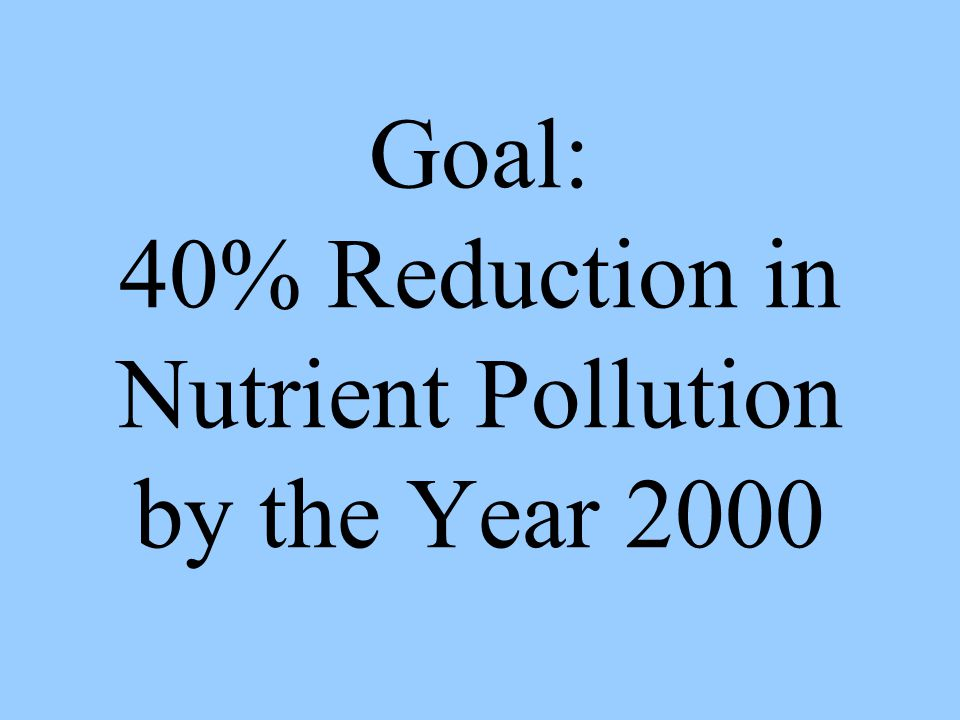 Goal: 40% Reduction in Nutrient Pollution by the Year 2000