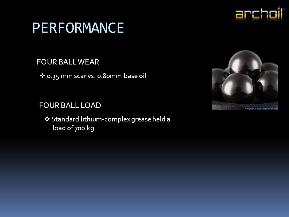 PERFORMANCE FOUR BALL WEAR  0.35 mm scar vs. 0.80mm base oil FOUR BALL LOAD  Standard lithium-complex grease held a load of 700 kg