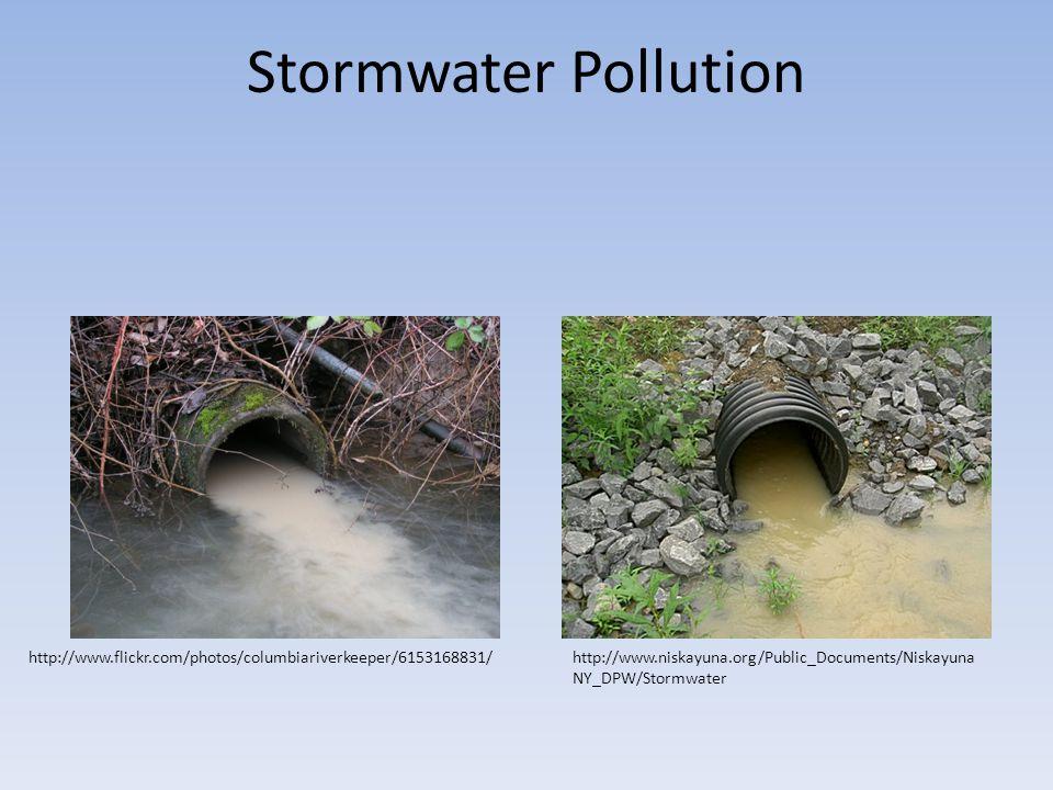 Stormwater Pollution http://www.flickr.com/photos/columbiariverkeeper/6153168831/http://www.niskayuna.org/Public_Documents/Niskayuna NY_DPW/Stormwater