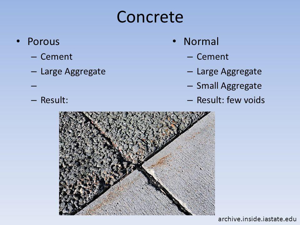 Concrete Porous – Cement – Large Aggregate – – Result: Normal – Cement – Large Aggregate – Small Aggregate – Result: few voids archive.inside.iastate.