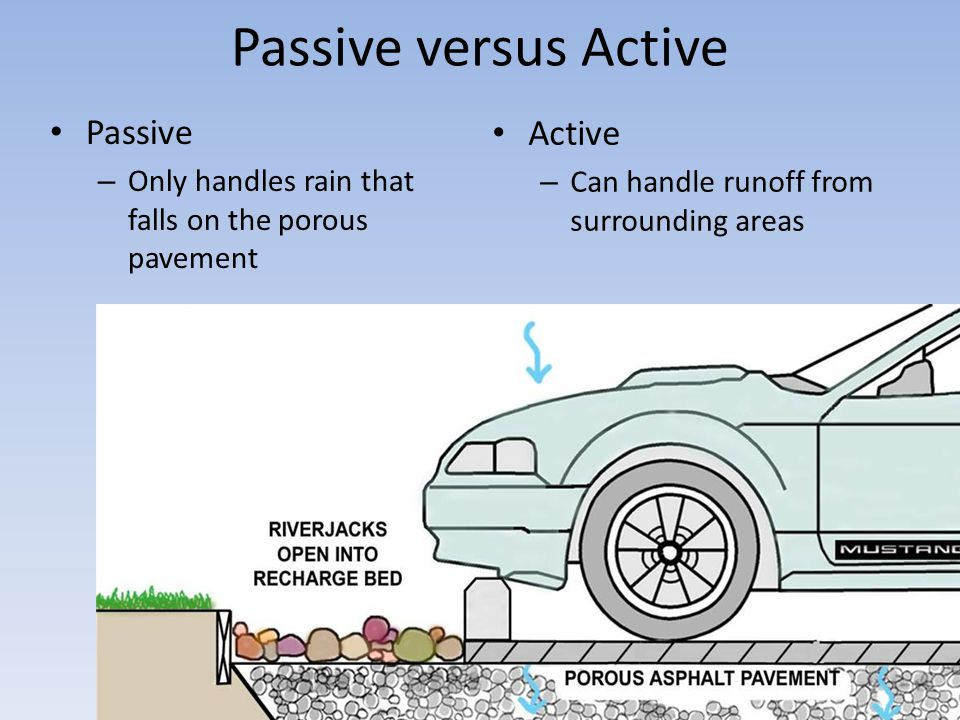Passive versus Active Passive – Only handles rain that falls on the porous pavement Active – Can handle runoff from surrounding areas