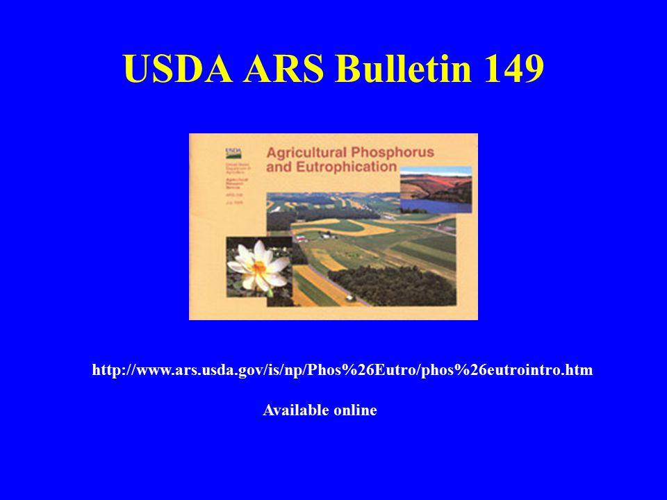 USDA ARS Bulletin 149 http://www.ars.usda.gov/is/np/Phos%26Eutro/phos%26eutrointro.htm Available online