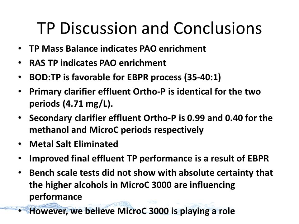 TP Discussion and Conclusions TP Mass Balance indicates PAO enrichment RAS TP indicates PAO enrichment BOD:TP is favorable for EBPR process (35-40:1) Primary clarifier effluent Ortho-P is identical for the two periods (4.71 mg/L).