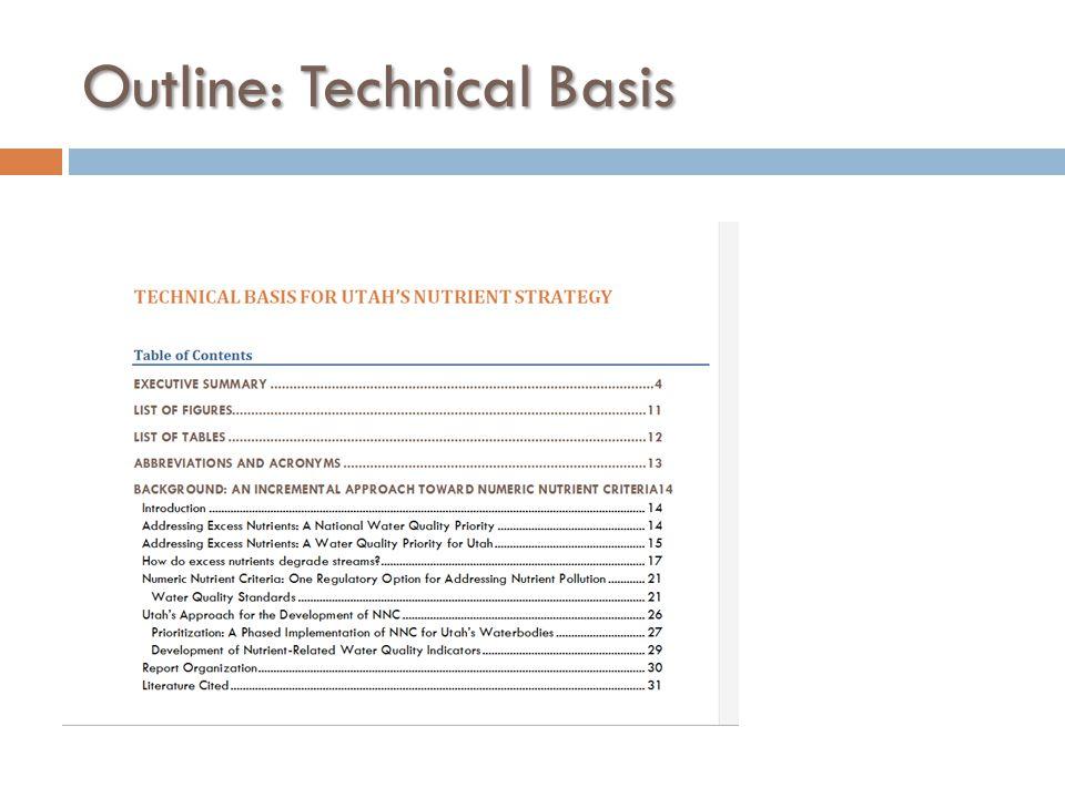 Outline: Technical Basis