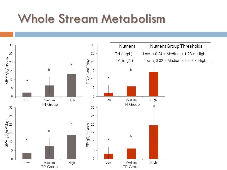 Whole Stream Metabolism ER g0 2 /m 2 /day GPP g0 2 /m 2 /day TN Group TP Group a b c a b b a b b a b c TN (mg/L) Low Medium High TP (mg/L) Low Medium High NutrientNutrient Group Thresholds