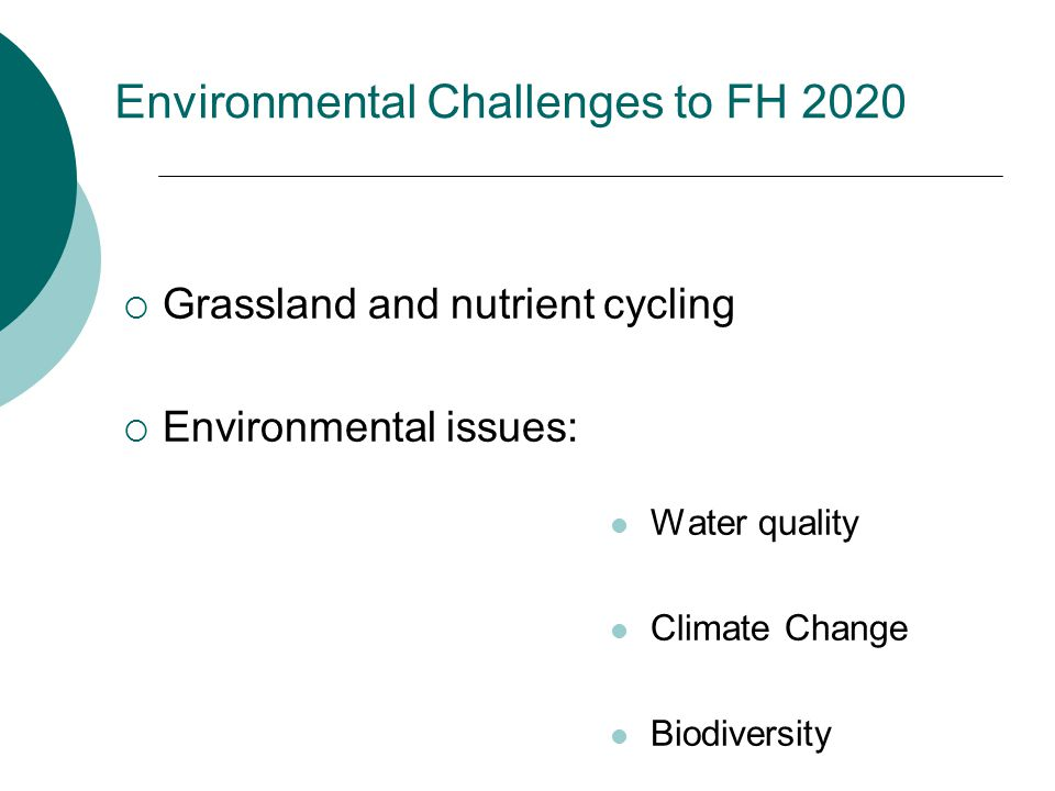 Environmental Challenges to FH 2020  Grassland and nutrient cycling  Environmental issues: Water quality Climate Change Biodiversity