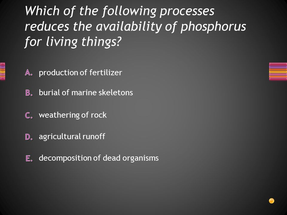 Which of the following processes reduces the availability of phosphorus for living things.