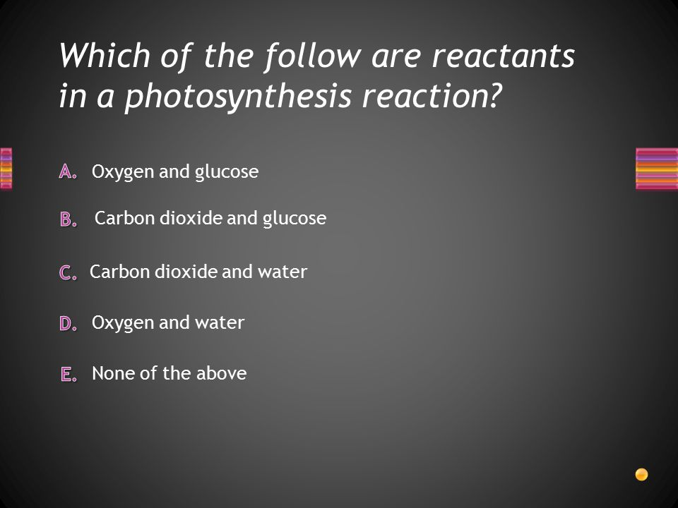 Which of the follow are reactants in a photosynthesis reaction.