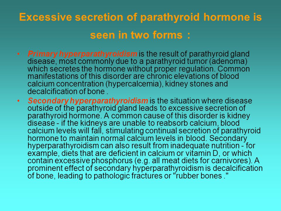 Excessive secretion of parathyroid hormone is seen in two forms: Primary hyperparathyroidism is the result of parathyroid gland disease, most commonly due to a parathyroid tumor (adenoma) which secretes the hormone without proper regulation.