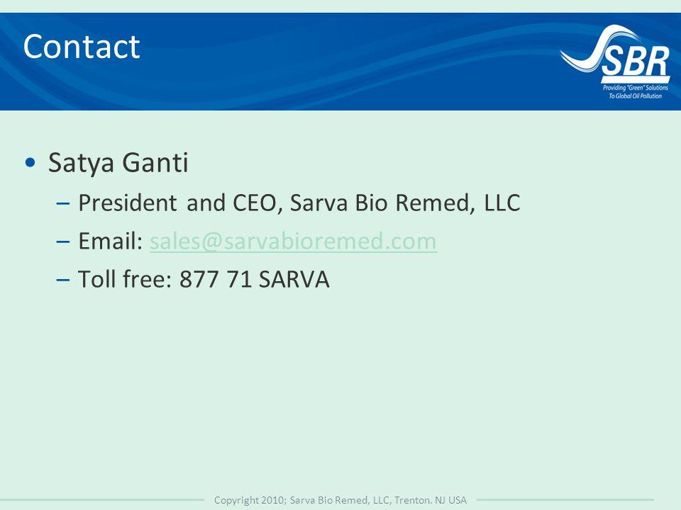 Copyright 2010; Sarva Bio Remed, LLC, Trenton.