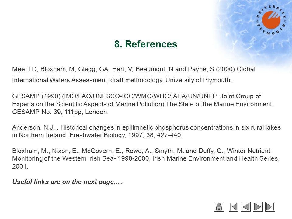 8. References Mee, LD, Bloxham, M, Glegg, GA, Hart, V, Beaumont, N and Payne, S (2000) Global International Waters Assessment; draft methodology, Univ