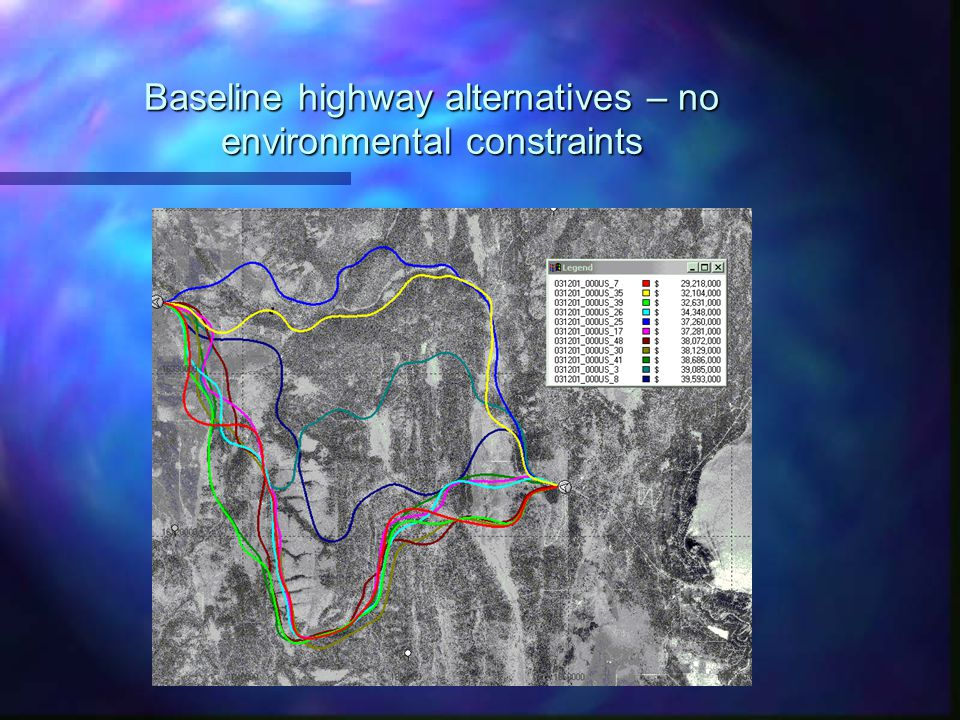 Baseline highway alternatives – no environmental constraints