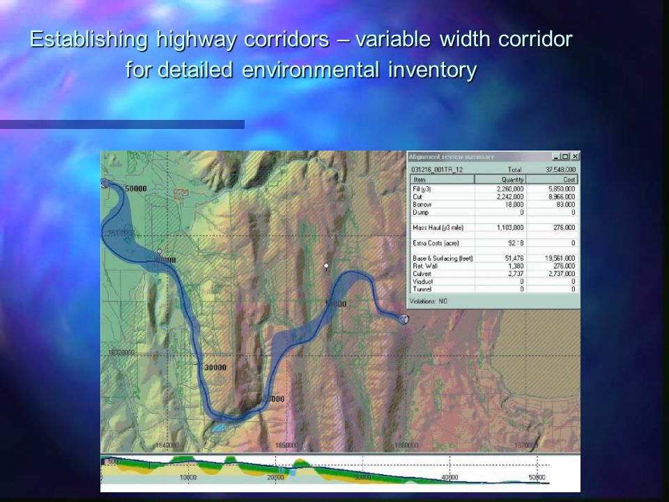 Establishing highway corridors – variable width corridor for detailed environmental inventory