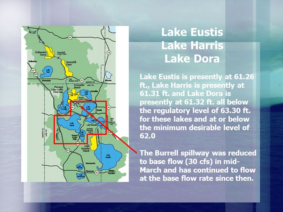 Lake Eustis is presently at 61.26 ft., Lake Harris is presently at 61.31 ft.