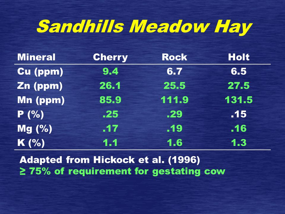 Sandhills Meadow Hay MineralCherryRockHolt Cu (ppm)9.46.76.5 Zn (ppm)26.125.527.5 Mn (ppm)85.9111.9131.5 P (%).25.29.15 Mg (%).17.19.16 K (%)1.11.61.3 Adapted from Hickock et al.