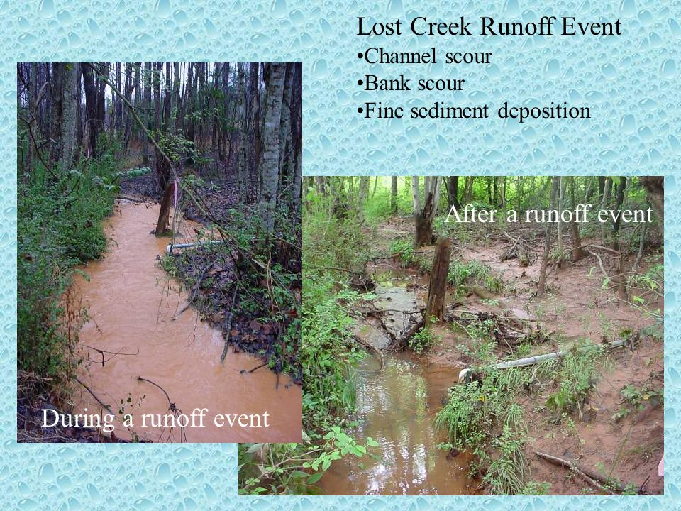 During a runoff event After a runoff event Lost Creek Runoff Event Channel scour Bank scour Fine sediment deposition