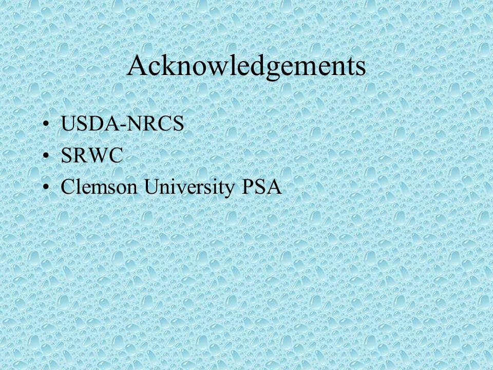 Acknowledgements USDA-NRCS SRWC Clemson University PSA