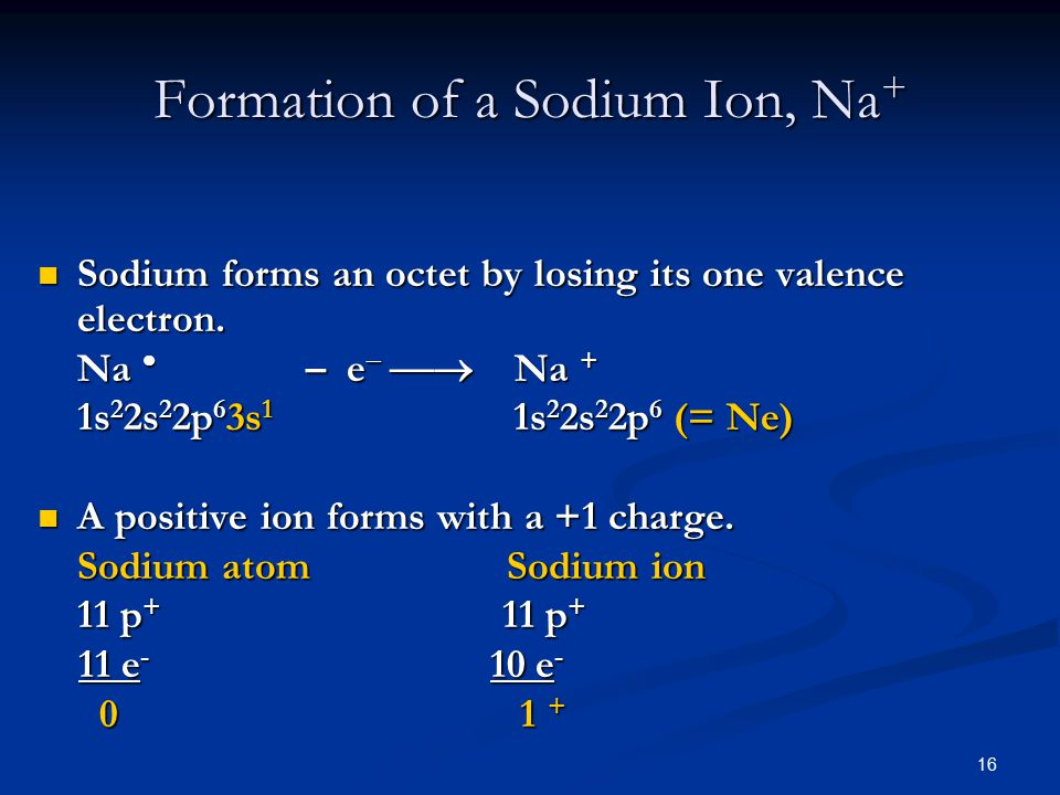 16 Sodium forms an octet by losing its one valence electron.