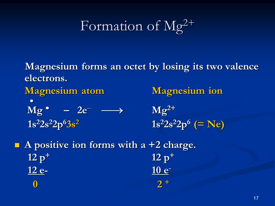 17 Magnesium forms an octet by losing its two valence electrons.