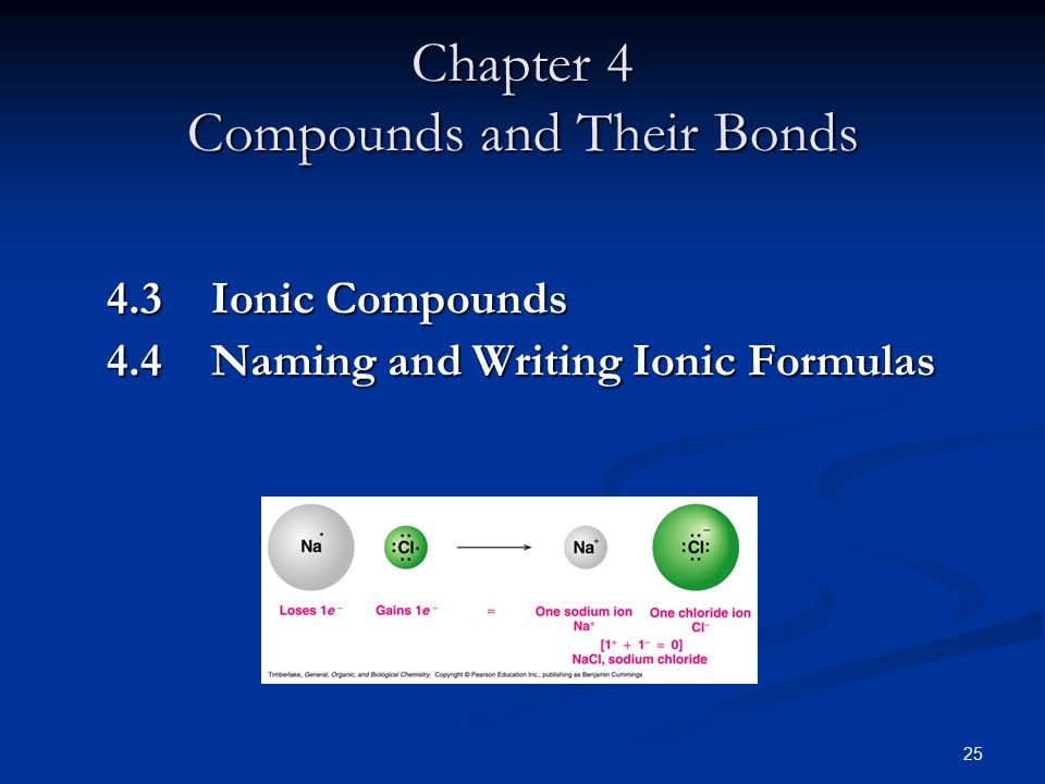 25 Chapter 4 Compounds and Their Bonds 4.3 Ionic Compounds 4.4 Naming and Writing Ionic Formulas
