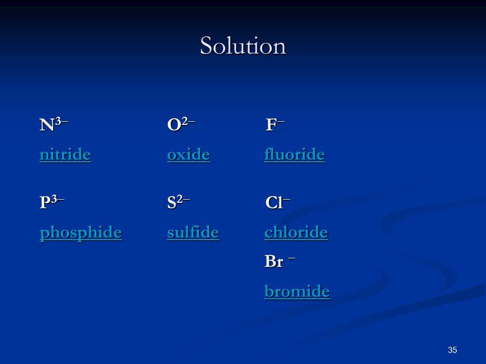 35 N 3  O 2  F  nitride oxide fluoride nitride oxide fluoride P 3  S 2  Cl  phosphide sulfide chloride phosphide sulfide chloride Br  bromide Solution