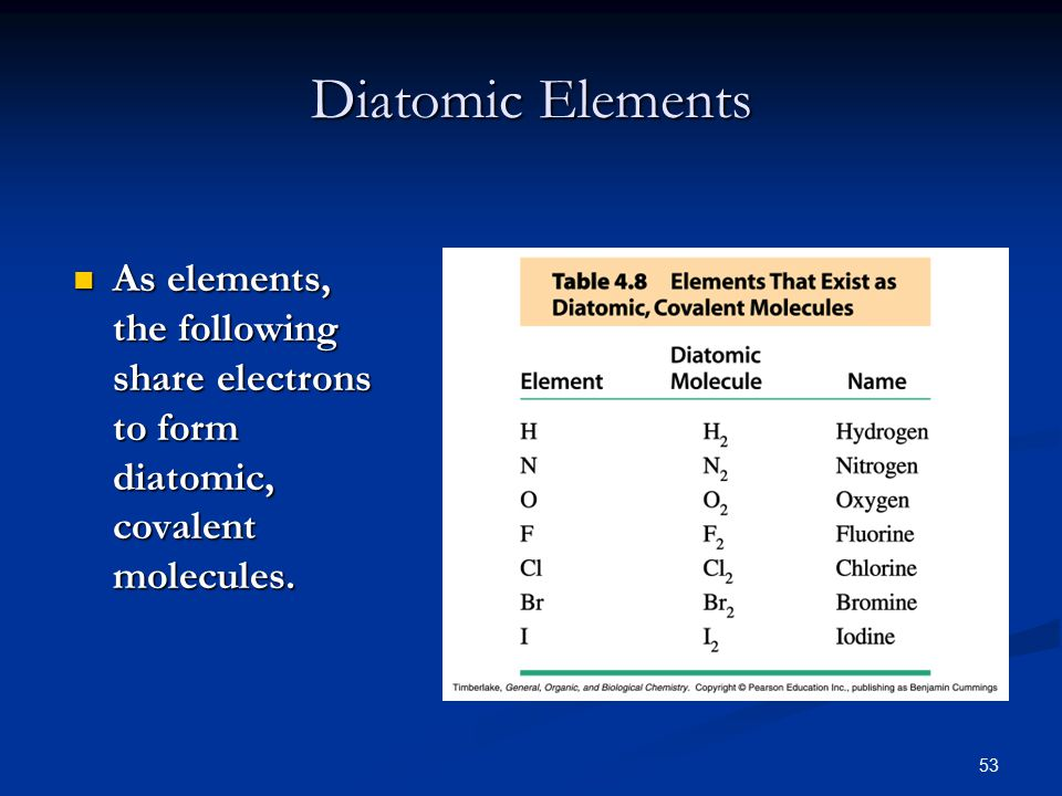 53 Diatomic Elements As elements, the following share electrons to form diatomic, covalent molecules.