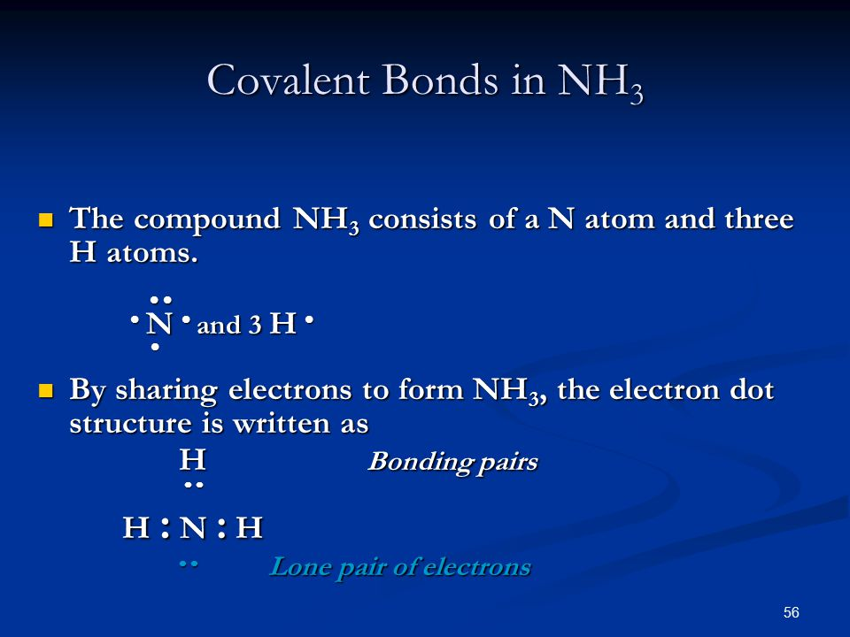 56 The compound NH 3 consists of a N atom and three H atoms.