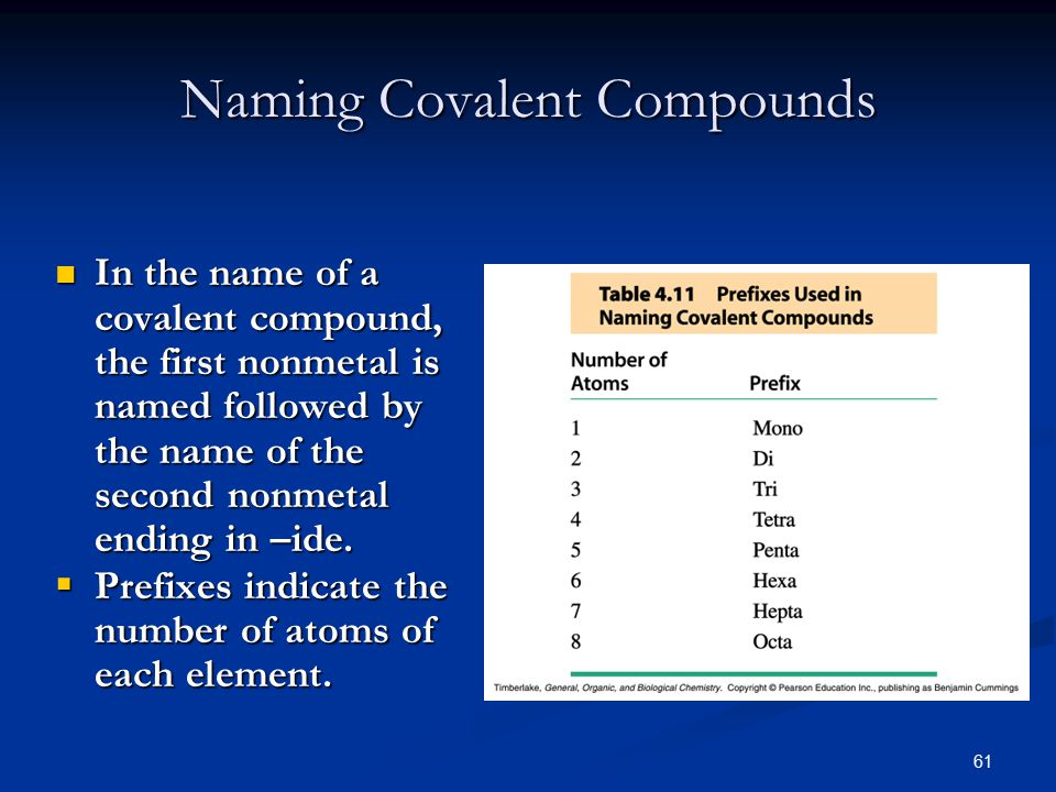 61 In the name of a covalent compound, the first nonmetal is named followed by the name of the second nonmetal ending in –ide.