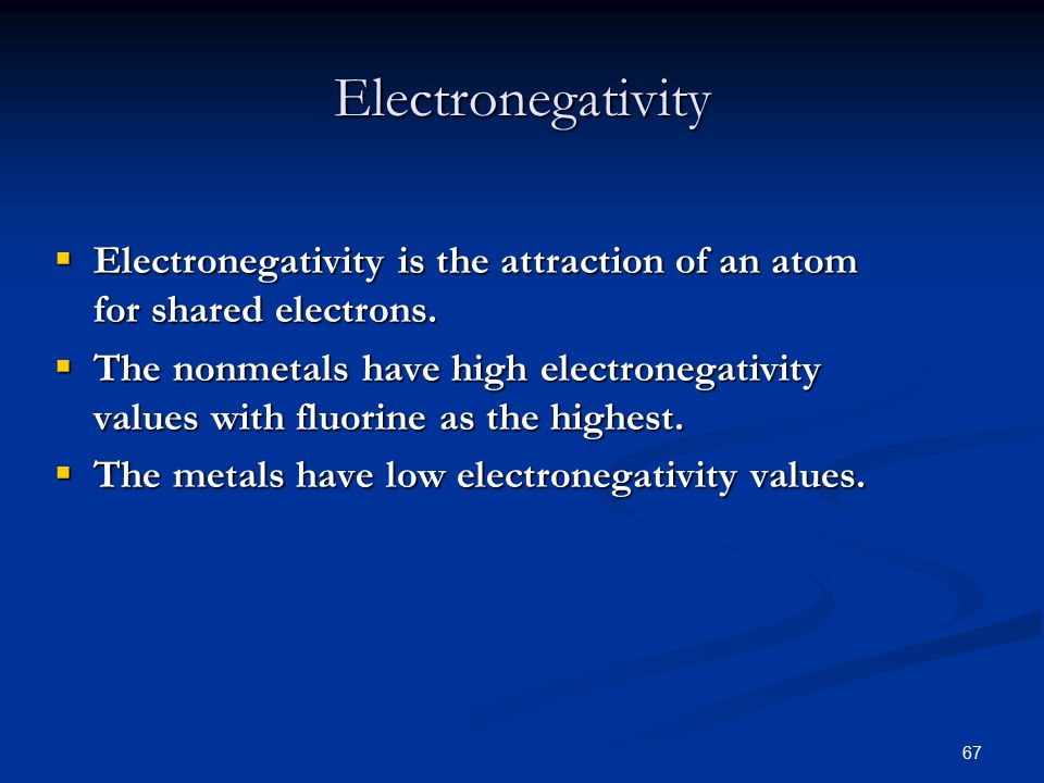 67  Electronegativity is the attraction of an atom for shared electrons.
