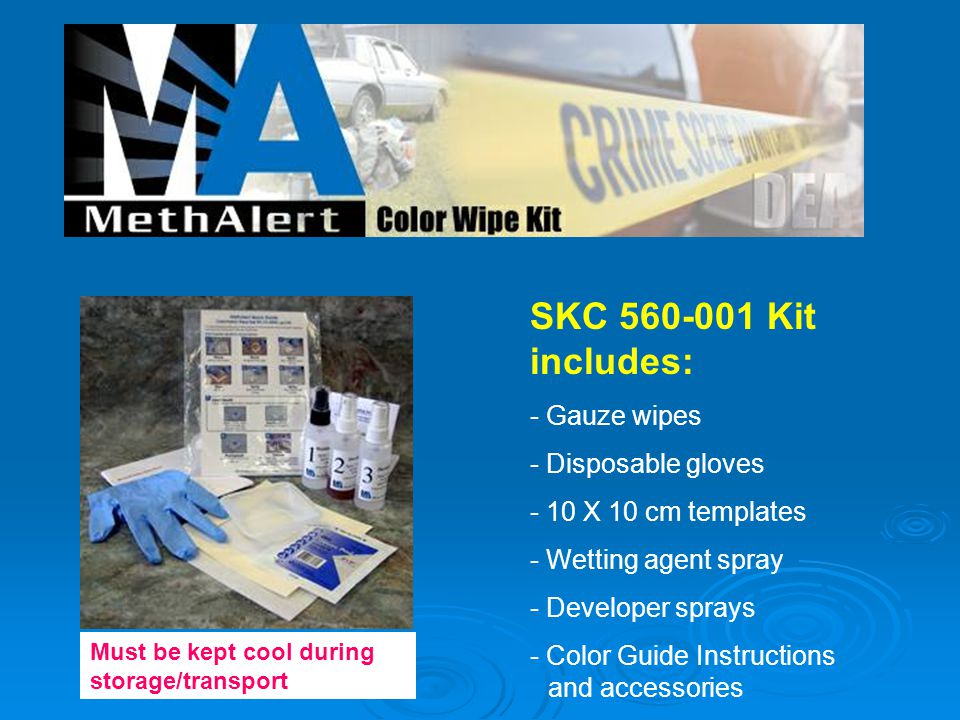 SKC 560-001 Kit includes: - Gauze wipes - Disposable gloves - 10 X 10 cm templates - Wetting agent spray - Developer sprays - Color Guide Instructions and accessories Must be kept cool during storage/transport.