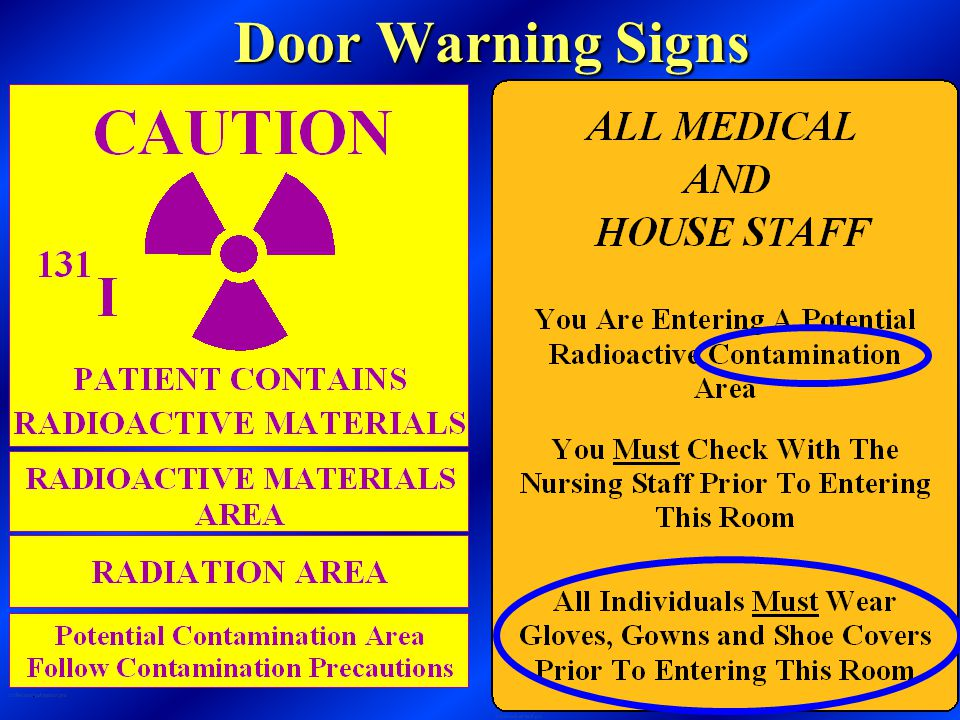Gloves Gown Shoe Covers Radiation Badge (must be worn by all staff while attending patient) Clean Step off Area For Contamination Control Procedures
