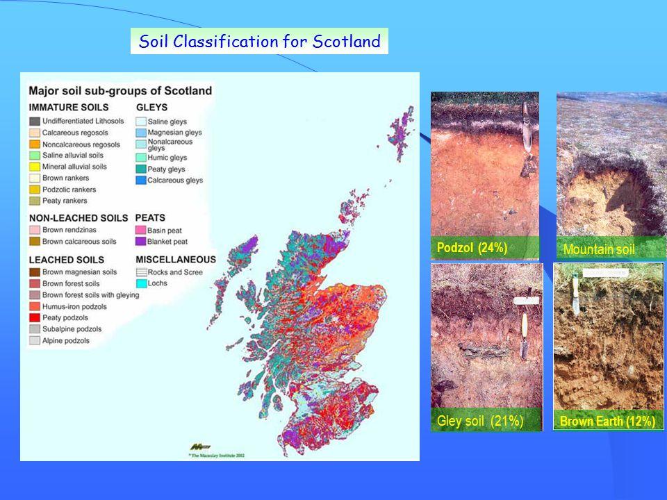 Soil Classification for Scotland Podzol (24%) Gley soil (21%)Mountain soil Brown Earth (12%)