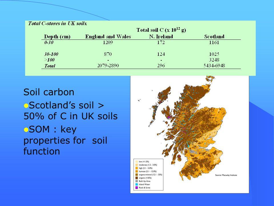 Soil carbon Scotland's soil > 50% of C in UK soils SOM : key properties for soil function