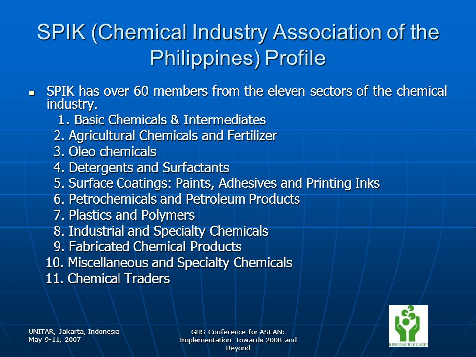 UNITAR, Jakarta, Indonesia May 9-11, 2007 GHS Conference for ASEAN: Implementation Towards 2008 and Beyond SPIK (Chemical Industry Association of the Philippines) Profile SPIK has over 60 members from the eleven sectors of the chemical industry.
