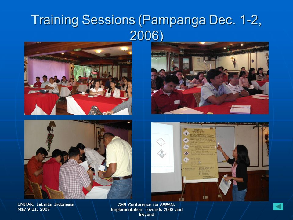 UNITAR, Jakarta, Indonesia May 9-11, 2007 GHS Conference for ASEAN: Implementation Towards 2008 and Beyond Training Sessions (Pampanga Dec.
