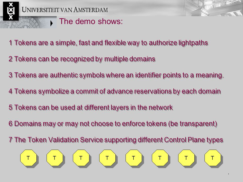 1 Tokens are a simple, fast and flexible way to authorize lightpaths 2 Tokens can be recognized by multiple domains 3 Tokens are authentic symbols whe