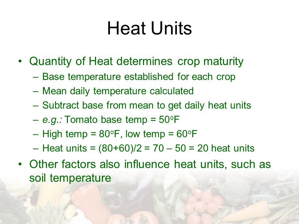 Heat Units Quantity of Heat determines crop maturity –Base temperature established for each crop –Mean daily temperature calculated –Subtract base from mean to get daily heat units –e.g.: Tomato base temp = 50 o F –High temp = 80 o F, low temp = 60 o F –Heat units = (80+60)/2 = 70 – 50 = 20 heat units Other factors also influence heat units, such as soil temperature