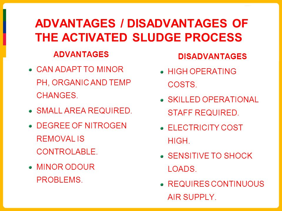 ADVANTAGES / DISADVANTAGES OF THE ACTIVATED SLUDGE PROCESS ADVANTAGES CAN ADAPT TO MINOR PH, ORGANIC AND TEMP CHANGES. SMALL AREA REQUIRED. DEGREE OF