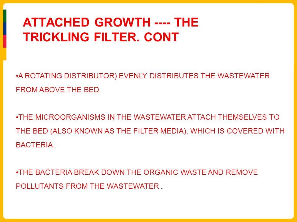 ATTACHED GROWTH ---- THE TRICKLING FILTER. CONT A ROTATING DISTRIBUTOR) EVENLY DISTRIBUTES THE WASTEWATER FROM ABOVE THE BED. THE MICROORGANISMS IN TH