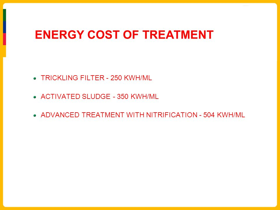 ENERGY COST OF TREATMENT TRICKLING FILTER - 250 KWH/ML ACTIVATED SLUDGE - 350 KWH/ML ADVANCED TREATMENT WITH NITRIFICATION - 504 KWH/ML