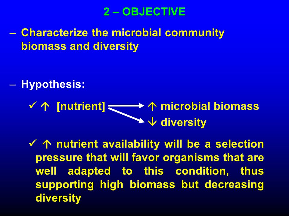 2 – OBJECTIVE –Characterize the microbial community biomass and diversity –Hypothesis:  [nutrient]  microbial biomass  diversity  nutrient availability will be a selection pressure that will favor organisms that are well adapted to this condition, thus supporting high biomass but decreasing diversity