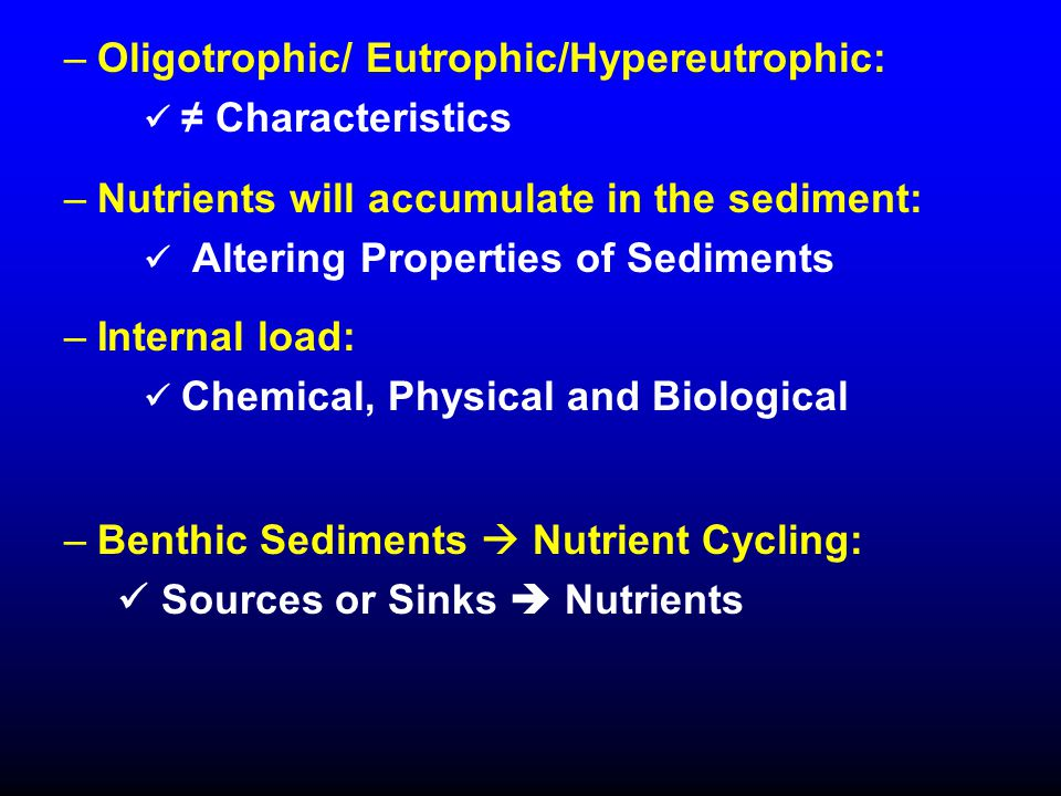 –Oligotrophic/ Eutrophic/Hypereutrophic: ≠ Characteristics –Nutrients will accumulate in the sediment: Altering Properties of Sediments –Internal load: Chemical, Physical and Biological –Benthic Sediments  Nutrient Cycling: Sources or Sinks  Nutrients