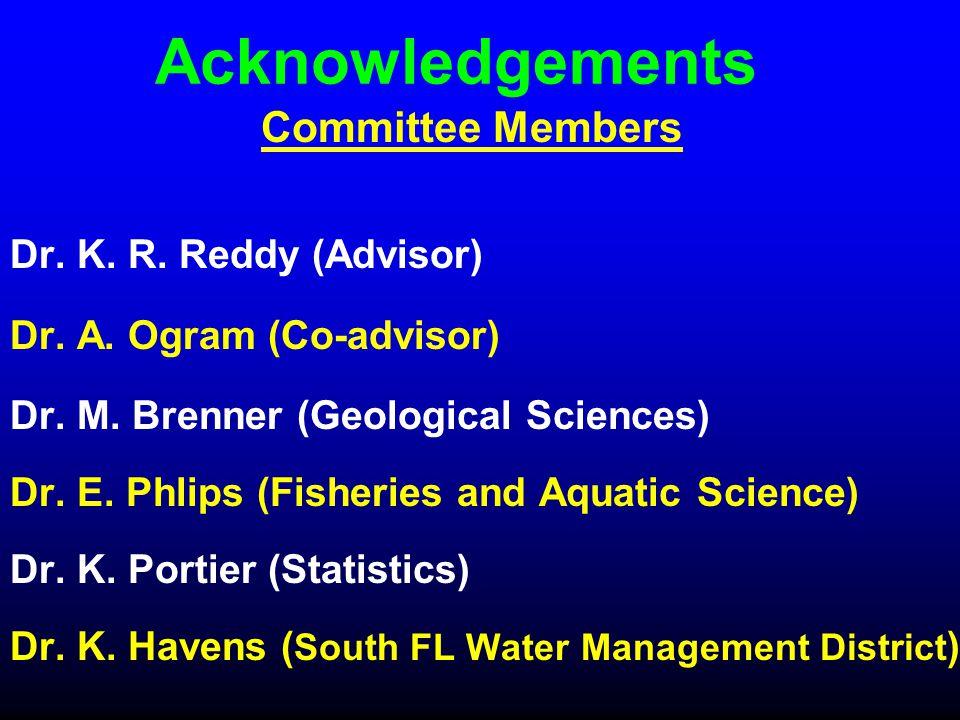 Acknowledgements Dr. K. R. Reddy (Advisor) Dr. A. Ogram (Co-advisor) Dr. M. Brenner (Geological Sciences) Dr. E. Phlips (Fisheries and Aquatic Science
