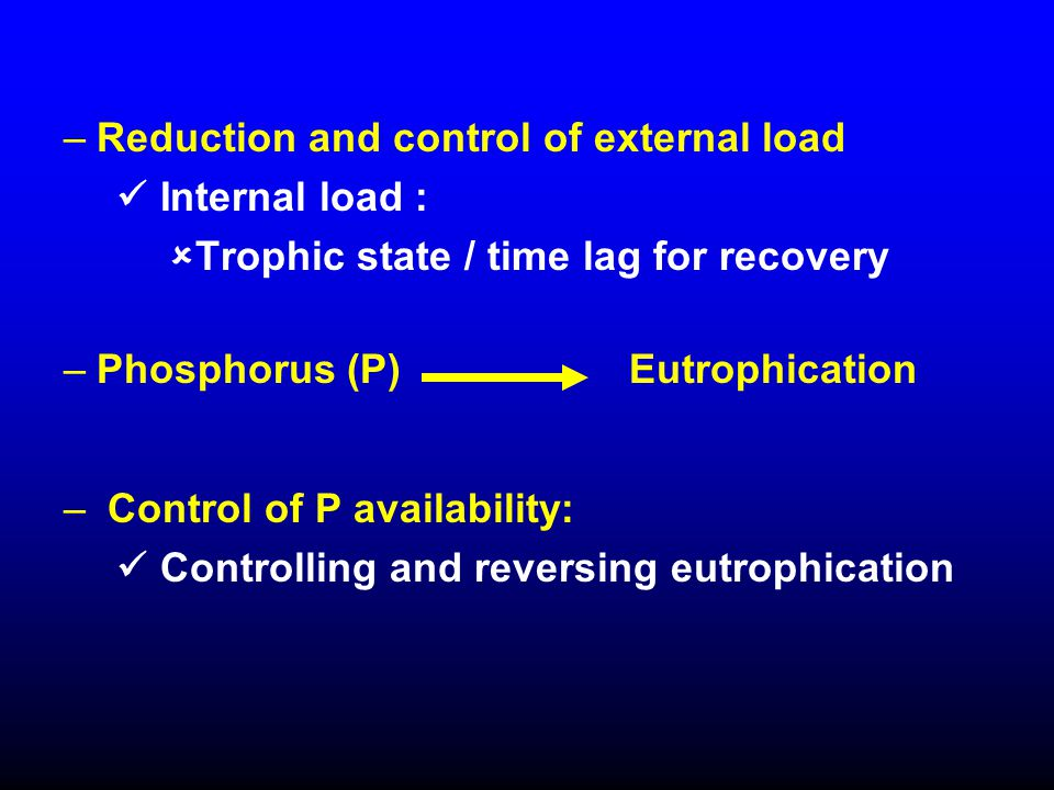 –Reduction and control of external load Internal load :  Trophic state / time lag for recovery –Phosphorus (P) Eutrophication – Control of P availabi