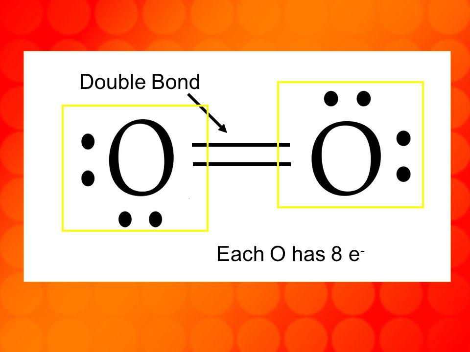 Each O has 8 e - Double Bond
