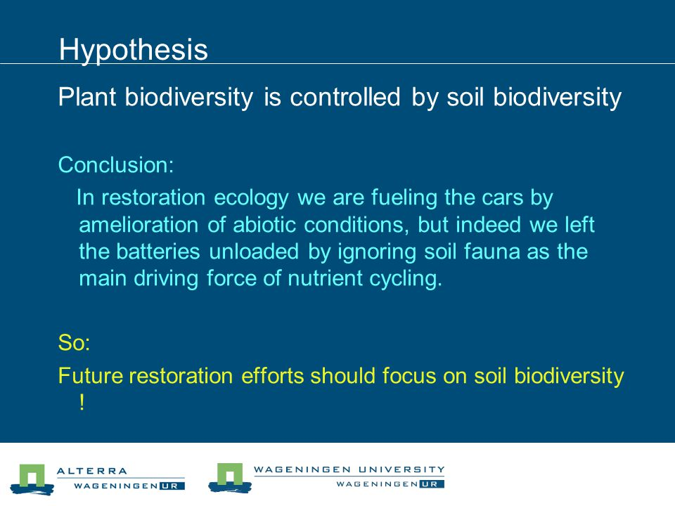 Hypothesis Plant biodiversity is controlled by soil biodiversity Conclusion: In restoration ecology we are fueling the cars by amelioration of abiotic