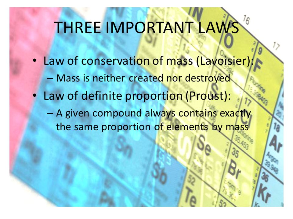 THREE IMPORTANT LAWS Law of conservation of mass (Lavoisier): – Mass is neither created nor destroyed Law of definite proportion (Proust): – A given compound always contains exactly the same proportion of elements by mass