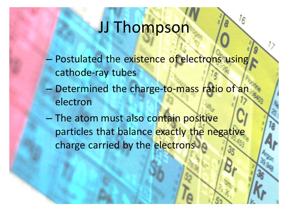 JJ Thompson – Postulated the existence of electrons using cathode-ray tubes – Determined the charge-to-mass ratio of an electron – The atom must also