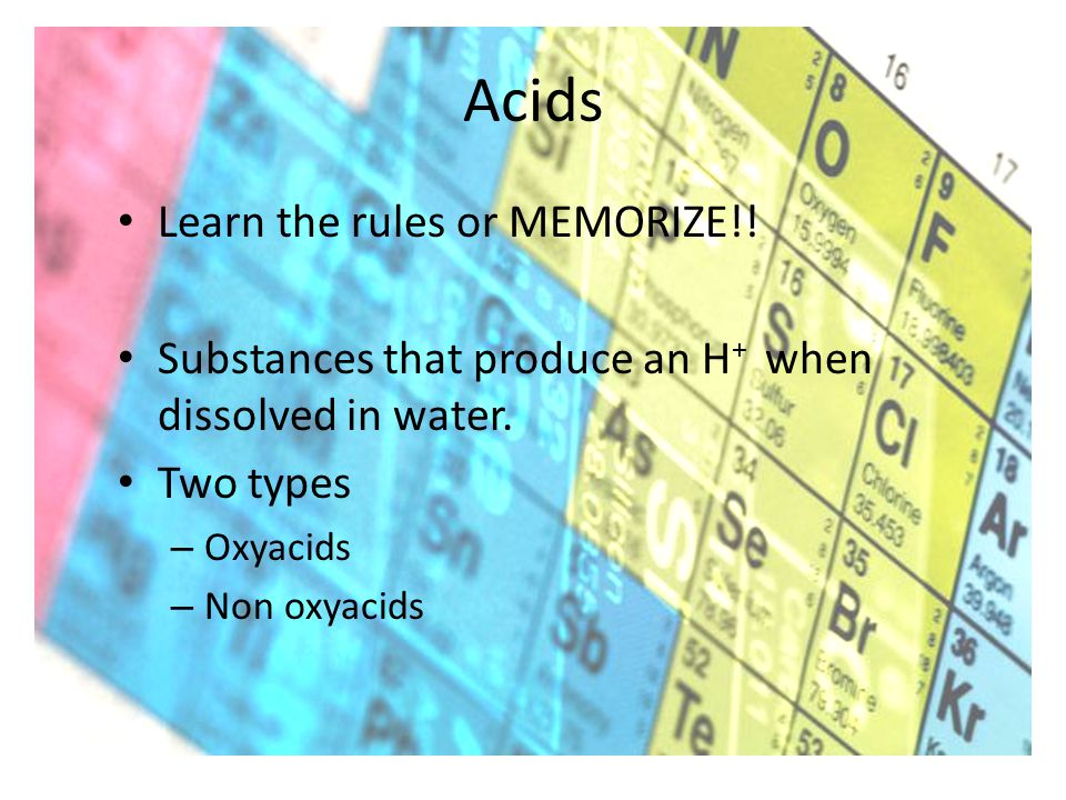 Acids Learn the rules or MEMORIZE!! Substances that produce an H + when dissolved in water. Two types – Oxyacids – Non oxyacids
